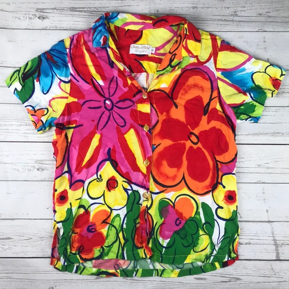 3bec7d9f22940 Jams World Tops - Jams World 50th Floral Print Furphy Button Shirt S